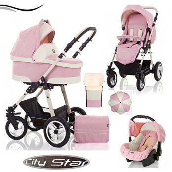 Kinderwagen rosa Kinderwagenset-3-in-1-City-Star