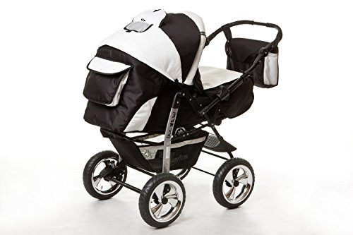 kombi kinderwagen travel system kamel 3in1 schwarz weiss babyschale autositz 0 10kg kinderwagen. Black Bedroom Furniture Sets. Home Design Ideas