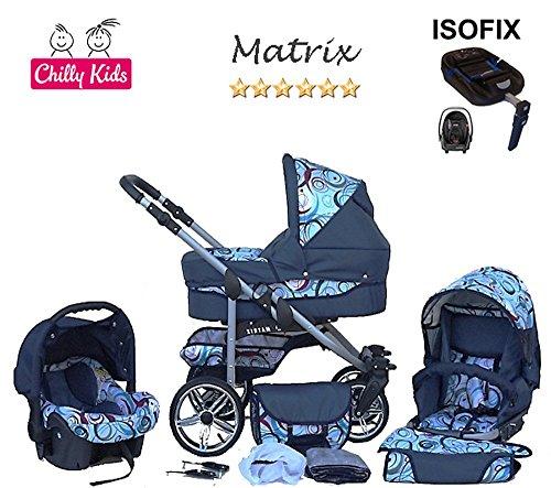 chilly kids matrix ii kinderwagen safety set autositz isofix basis regenschutz moskitonetz. Black Bedroom Furniture Sets. Home Design Ideas