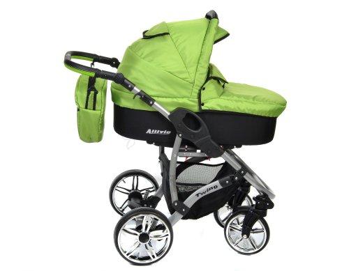 grüner Kinderwagen