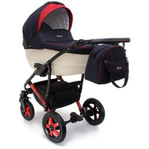 """d85f395707 Camarelo Kombi-Kinderwagen """"Carera"""" 3 in 1 (mit Babywanne, Sportsitz,  Babyschale, Luftreifen & Zubehör)"""