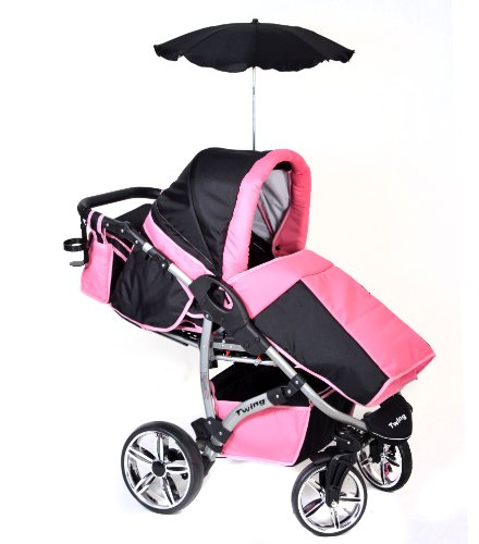 twing 3 in 1 reiseset mit baby kinderwagen autositz buggy zubeh r schwarz rosa. Black Bedroom Furniture Sets. Home Design Ideas