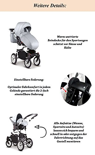 Schwenkr/äder KUNSTLEDER: Kinderwagen SCHWARZ-ROT KUNSTLEDER-SCHWARZ all inclusive Paket in Farbe 13 teiliges Qualit/äts-Kinderwagenset 2 in 1COSMO-ECO Buggy Mega-Ausstattung CE-10