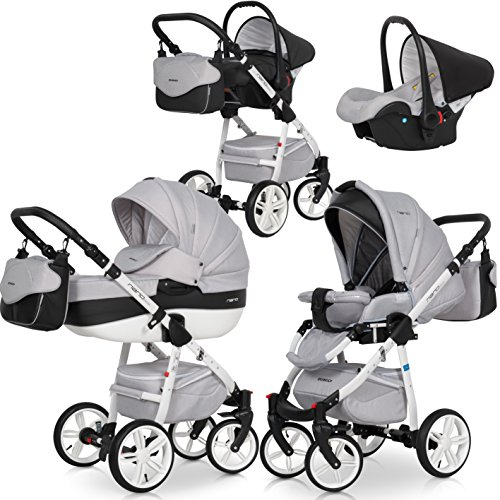 riko kinderwagen kombi 3in1 nano eco komplettset baby 0 36 monate farbe carbon grau. Black Bedroom Furniture Sets. Home Design Ideas