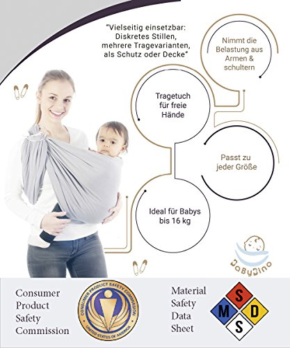 babytragetuch ring sling 2 in1 elastisches baby tragetuch mit aluminium ringe f r neugeborene. Black Bedroom Furniture Sets. Home Design Ideas