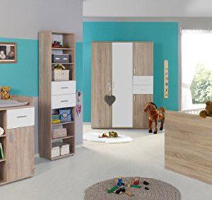 Schrank Regal Eiche-S. Babyzimmer-Set KIMBA 6tlg Komplett Bett Wickelkommode kl