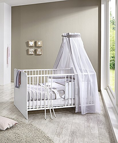 babyzimmer komplett set kim 4 in wei kleiderschrank babybett lattenrost wickelkommode. Black Bedroom Furniture Sets. Home Design Ideas
