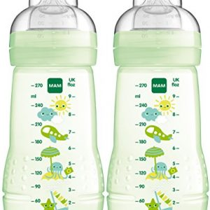 Baby Trinkflasche inklusive MAM Sauger Gr/ö/ße 1 aus SkinSoft Silikon MAM Easy Active Trinkflasche Milchflasche mit ergonomischer Form 0+ Monate 270 ml Hase