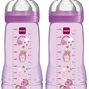 Baby Trinkflasche inklusive MAM Sauger Gr/ö/ße 2 aus SkinSoft Silikon 330 ml blau MAM Easy Active Trinkflasche 4+ Monate Milchflasche mit ergonomischer Form
