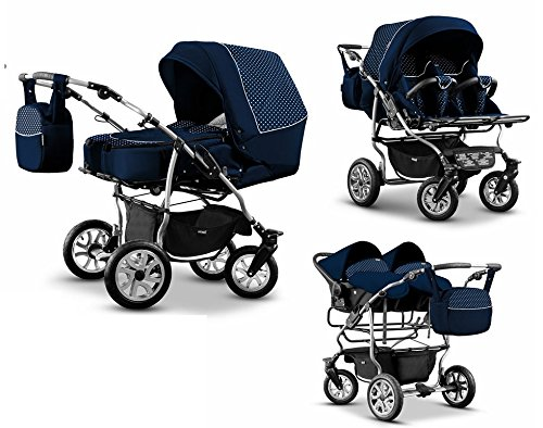 zwillingswagen mikado kinderwagen 3 in 1 set wanne buggy babyschale navy dots. Black Bedroom Furniture Sets. Home Design Ideas
