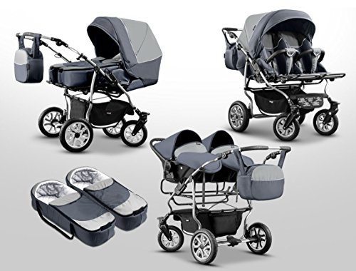 zwillingswagen mikado kinderwagen 3 in 1 set wanne buggy babyschale navy white. Black Bedroom Furniture Sets. Home Design Ideas
